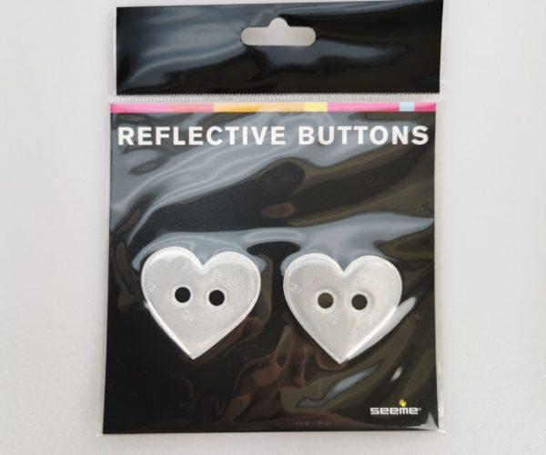 Reflective Buttons – Hjerte, Sølv