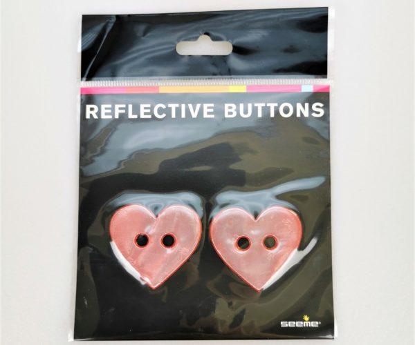 Reflective Buttons – Hjerte, Rød