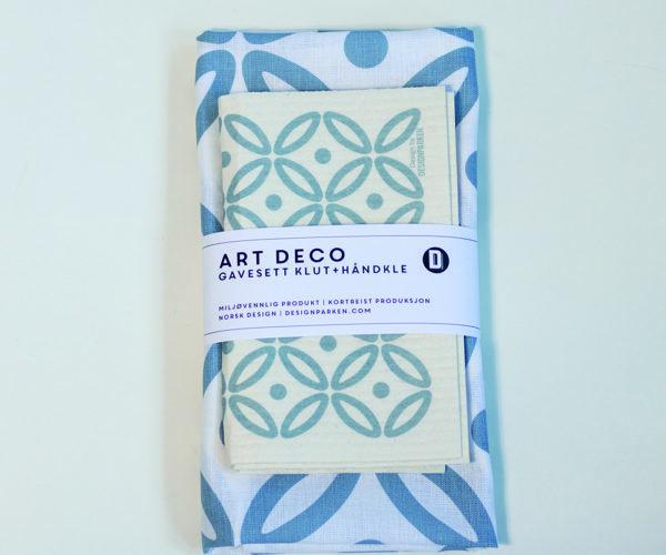 Gavesett Art Deco Himmelblå